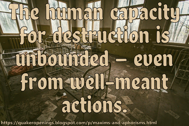 """A photograph of what appears to be a ruined hospital ward or orphanage dormitory. Text overlay reads """"The human capacity for destruction is unbounded — even from well-meant actions."""""""