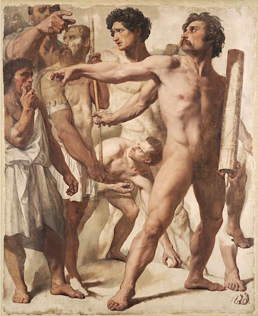 Jean-Auguste-Dominique Ingres (1780-1867), Etude pour le martyre de Saint-Symphorien, 1833 ,Huile et graphite sur toile,49.5 x h60.3 cm, Harvard Art Museums