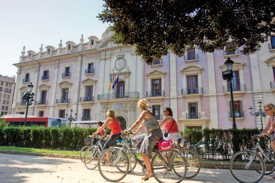 Cyclists in the centre of Valencia, Spain