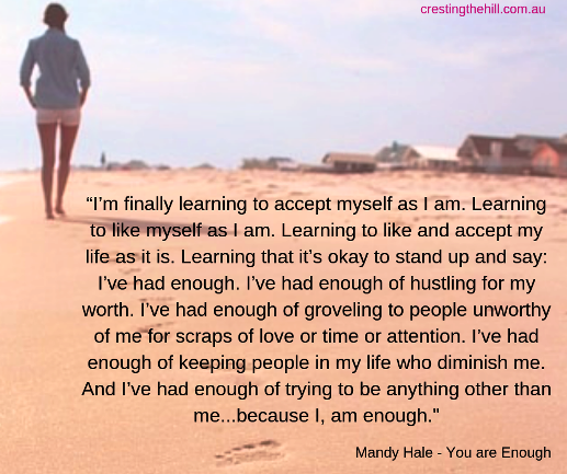 I'm finally learning to accept myself as I am. Learning to like myself as I am. Learning to like and accept my life as it is. Mandy Hale #quote