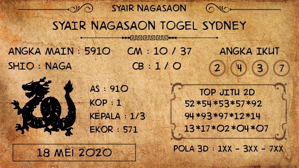 Prediksi Togel Sydney Senin 18 Mei 2020 - Syair Nagasaon