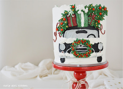 Christmas Cake, Painted Buttercream Cake, Christmas Cake Decorating, Vintage Christmas Car, Christmas Decorations, Gift Wrapping, Christmas Tree Cake