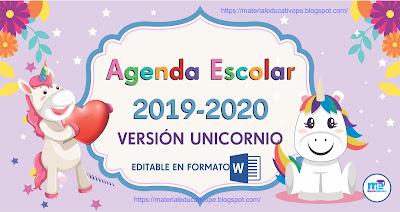 AGENDA ESCOLAR UNICORNIO 2019-2020