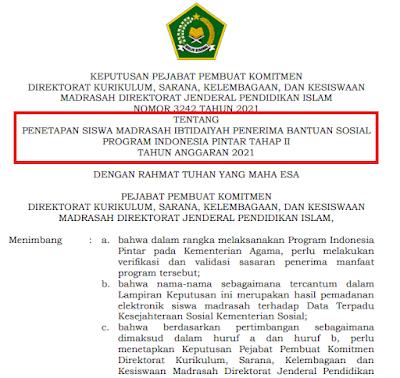CEK SEGERA! Daftar SK Penerima PIP Tahap II Jenjang MI Tahun 2021