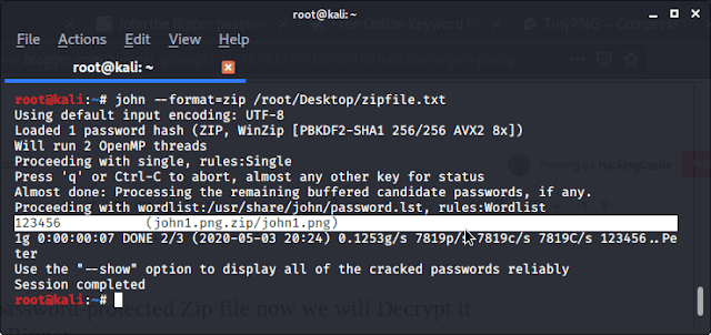 Cracking password protected Zip/RAR file: