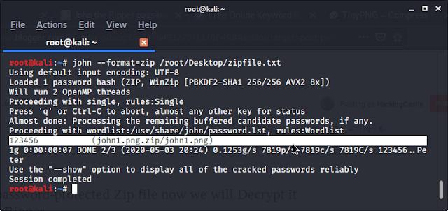 Cracking password protected Zip/RAR file: