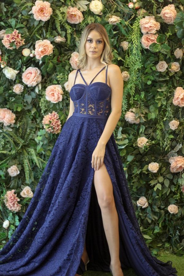 vestido de festa longo azul marinho para madrinha de casamento