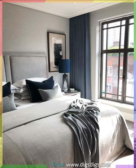 غرفة نوم رمادي وازرق