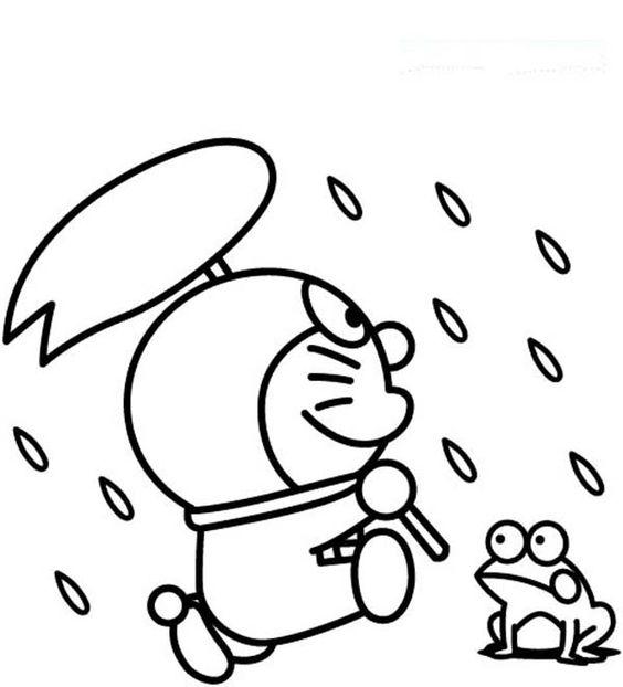 Tranh cho bé tô màu Doraemon đi dưới mưa