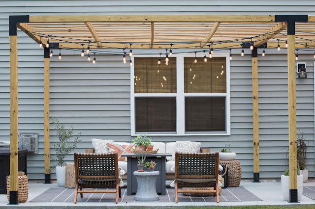 Patio Makeover with a Modern Pergola