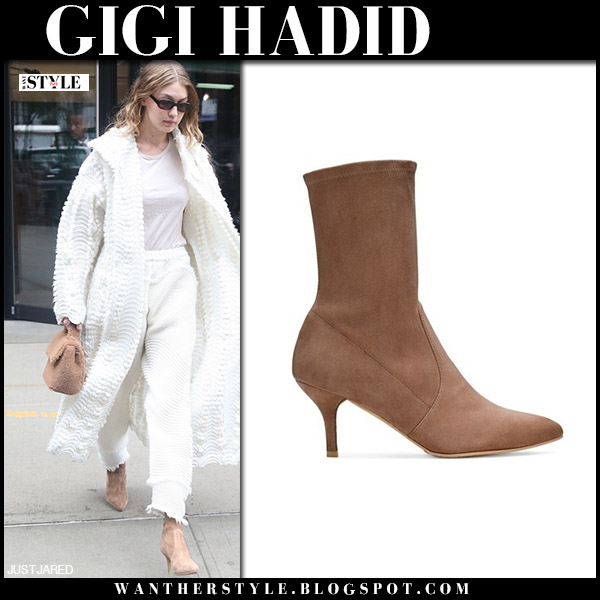 Gigi Hadid in brown suede ankle boots stuart weitzman and white coat fashion week model style september 12