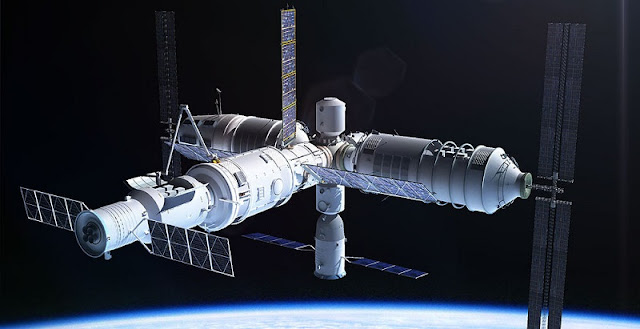 Artist's rendering of the Tiangong 3 space station. Image Credit: Adrian Mann, www.bisbos.com