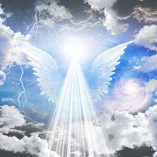 A view of a blue sky and clouds with beams of light and wings shining down. Angel portal.