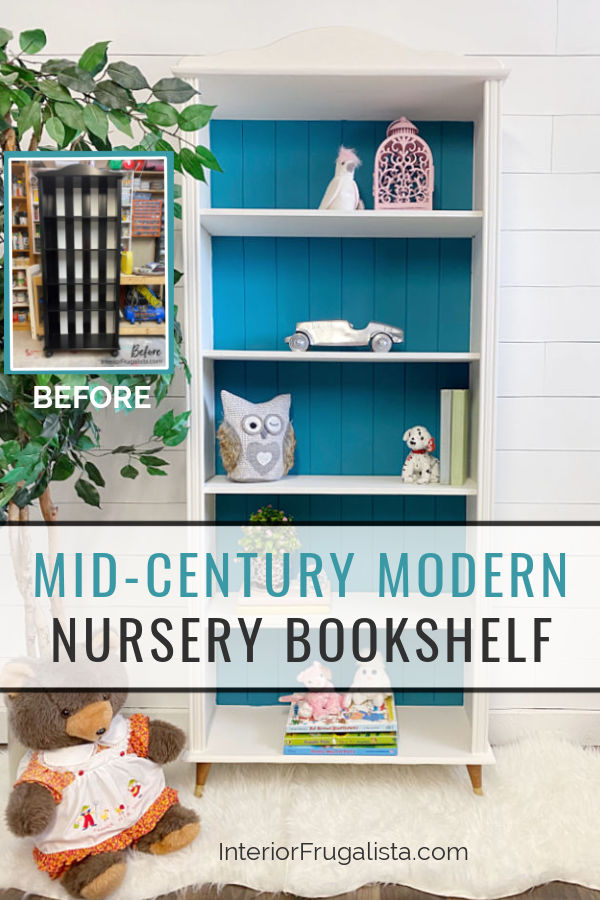 A small bookcase makeover for a baby nursery with mid-century modern style by replacing bun feet with vintage tapered wooden feet for a new look. #nurserybookcase #nurserybookshelf #furnituremakeover #bookcasemakeover