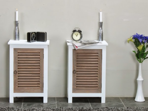 White Beside Tables With Wooden Clic Doors