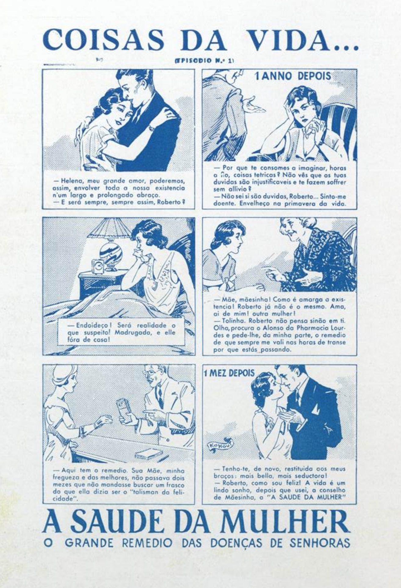 Anúncio antigo o medicamento Saúde da Mulher veiculado em 1933