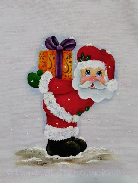 pintura de natal papai noel com presente