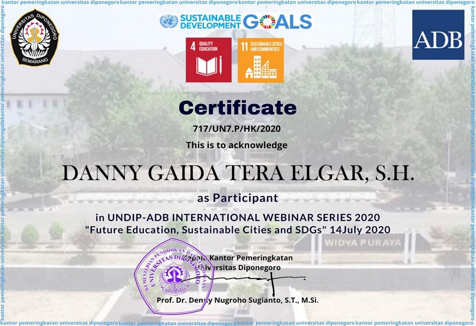 Certificate Future Education, Sustainable Cities and SDGs | Universitas Diponegoro (UNDIP) Semarang