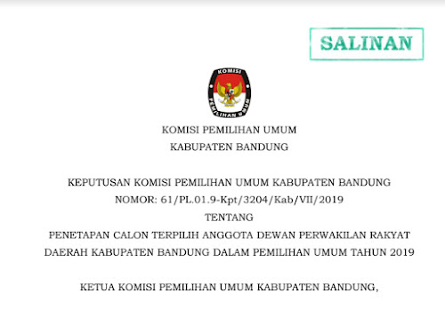 Caleg Terpilih DPRD Kabupaten Bandung Pemilu 2019
