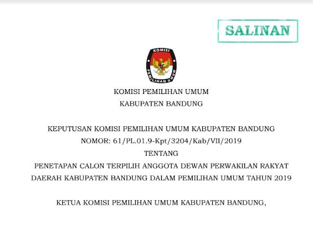 Inilah Nama-Nama Caleg Terpilih Anggota DPRD Kabupaten Bandung Pemilu 2019
