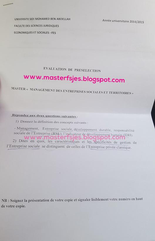 Master Management des Entreprises Sociales et Territoires 2014-2015