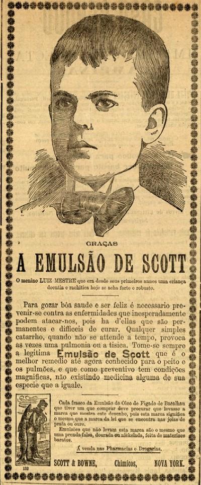 Propaganda antiga do Emulsão de Scott veiculada em 1904 mostrando o restabelecimento da saúde de uma criança