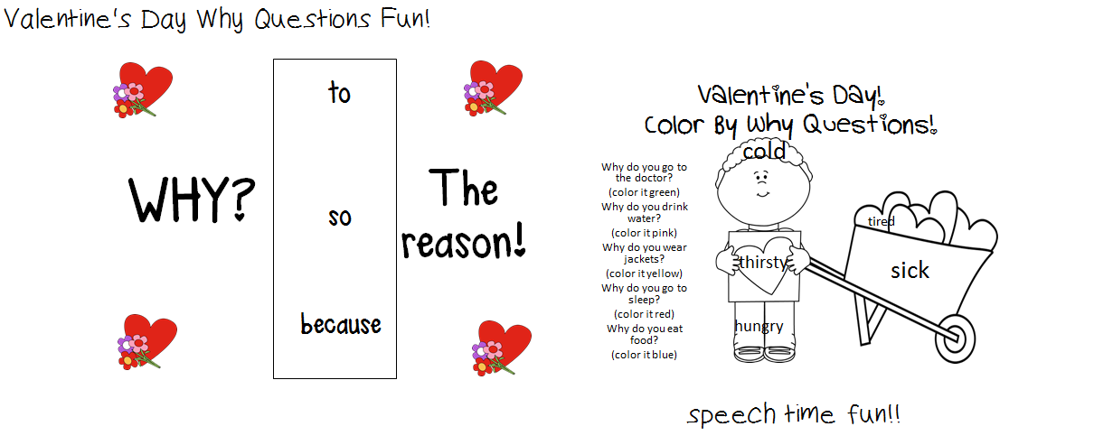 Speechie Freebies: Valentine's Day Color by WHY Questions!