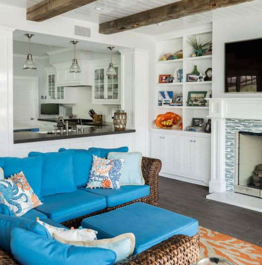 Cottage Style Coastal Home In Blue & Coral