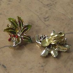 Holly enamelled vintage clip earrings by Exquisite