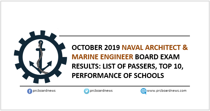 RESULT: October 2019 Naval Architect and Marine Engineer board exam list of passers