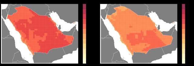 Réchauffement climatique : évolution de la température en Arabie Saoudite