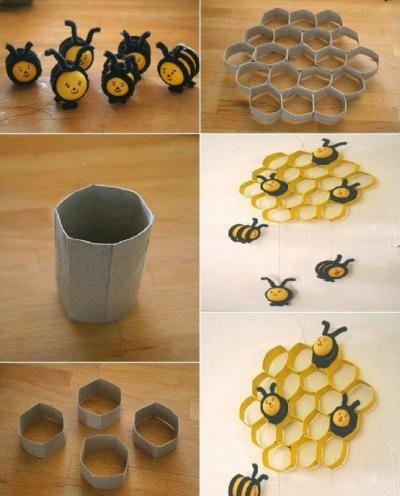 "Lebah dan sarang lebah ""Honeybeecomb"" terbuat dari kertas bekas tissue roll"