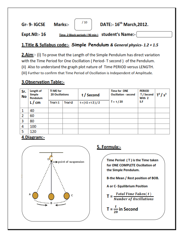 Sample lab report physics