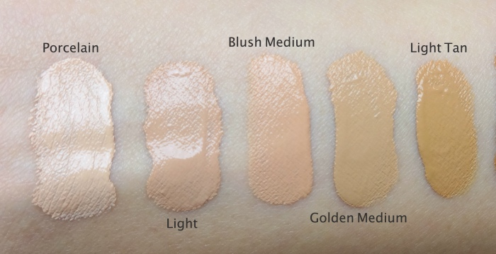 PUR cosmetics Bare It All foundation swatches