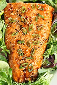 Toaster Oven Baked Salmon w/ Sweet Chili Sauce