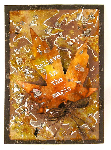 Sizzix Fall Foliage Ranger Mini Layering Stencils Set 22 Ranger Distress Inks  Leaves and ATC's For The Funkie Junkie Boutique
