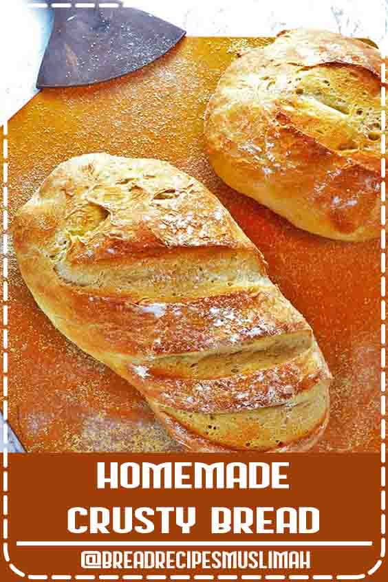 This Homemade Crusty Bread is easy enough for a novice to make and so delicious that family and guests alike will be impressed! #Bread #Recipes #homemade #fast