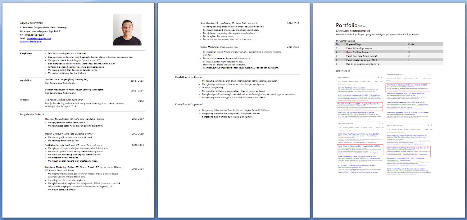 Gratis Untuk Kamu Contoh Cv Melamar Kerja Format Word Gratis