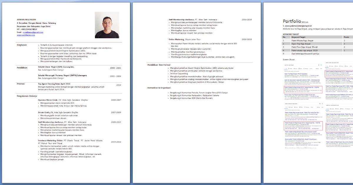 Gratis Untuk Kamu Contoh Cv Melamar Kerja Format Word Gratis Arman Dolan