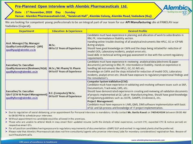 Alembic Pharma | Pre-Planned  Interview for QA / QC / QA-IT on 1st Nov 2020 at Vadodara