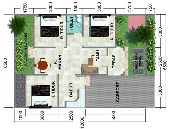 denah rumah 6x10m2 3 kamar yg inspiratif