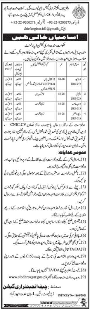 Sindh Irrigation Department Latest Jobs Advertisement 2021