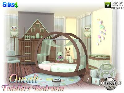 Omali Toddlers Bedroom Спальня для малышей Omali для The Sims 4 с кроватью для малышей. декорировать шторы для кровати. когда папа или мама читают книгу, голова касается занавески кровати. рунг коврик тумба. лестница деко для комода. 1 сладкий горшочек малышей. стульчики для кормления малышей. аудио радио для детской спальни. Deco Cube. Ящик для игрушек. и сова деко. Весь набор создан в 4 цветах. Автор: jomsims