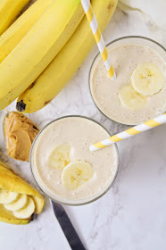 This three ingredient peanut butter banana smoothie is so easy to make and tastes like dessert, but is way better for you!