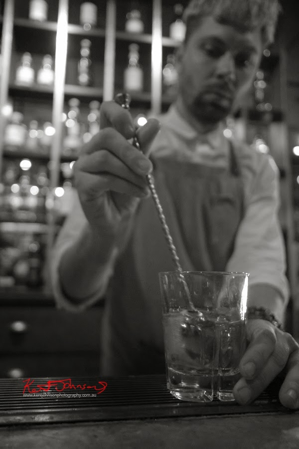 Mixing an Old Fashioned, thanks Justin! Ganton Man competition at Shirt Bar Sydney - Photography by Kent Johnson.