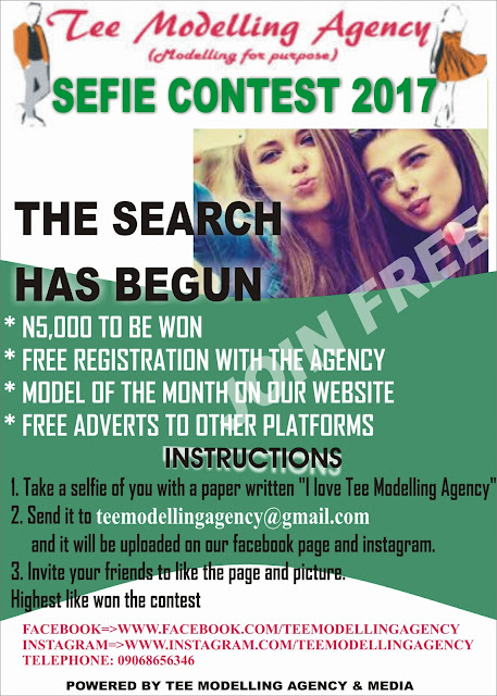 Don't miss this opportunity-Participate on the 2017 Tee Modelling Agency Selfie Photo Contest