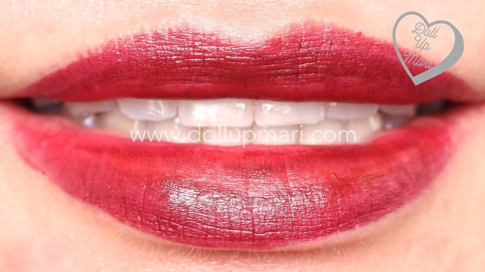 lip swatch of Superb Wine shade of AVON Perfectly Matte Lipstick