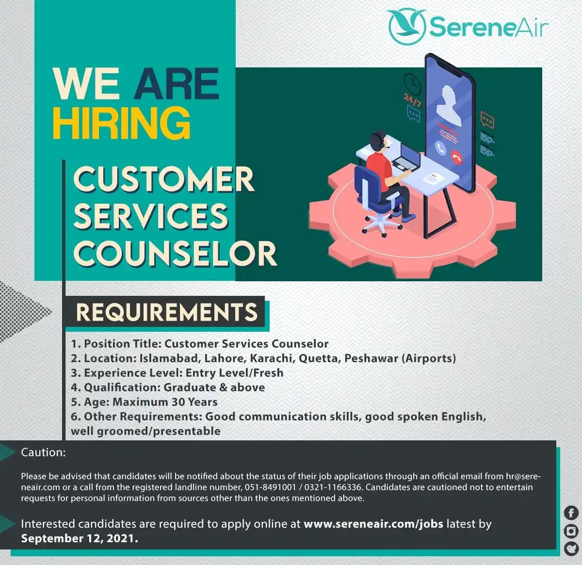 Serene Air Jobs 2021 for Customer Services Counselor