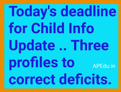 Today's deadline for Child Info Update .. Three profiles to correct deficits.