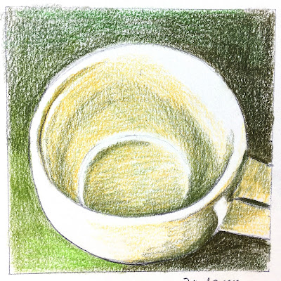 Daily Art 09-22-17 mug study in green Polychromos colored pencils in Canson XL Mix Media sketchbook